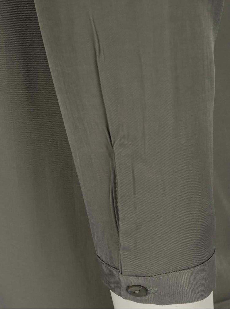 Khaki volná košile s průsvitnými detaily na zádech VILA Cantik