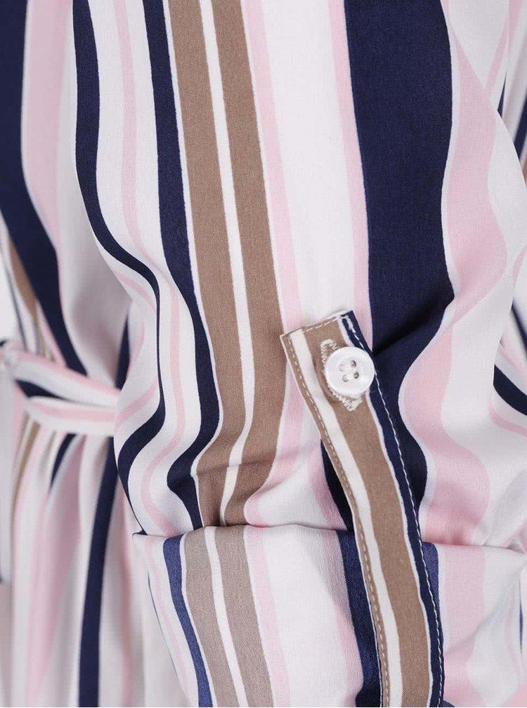 Krémové pruhované košilové šaty Ax Paris
