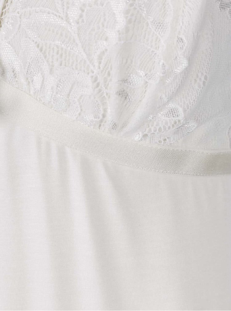 Krémová noční košilka s krajkovými detaily a pásky v dekoltu Eldar Elektra