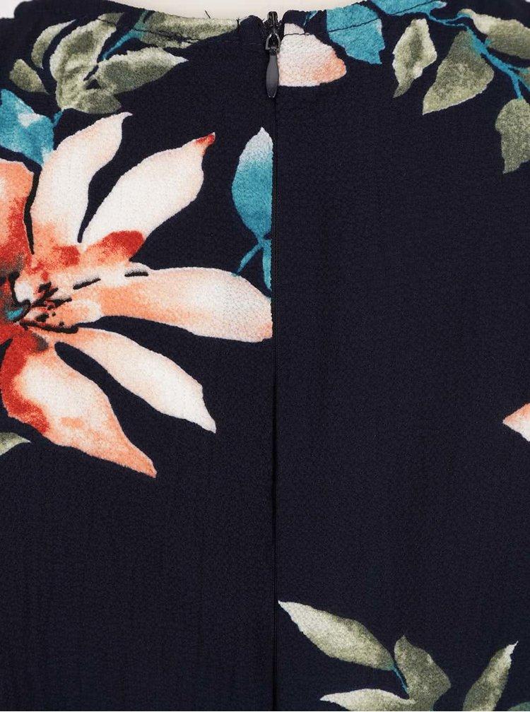 Tmavě modrý volný květovaný overal Ax Paris