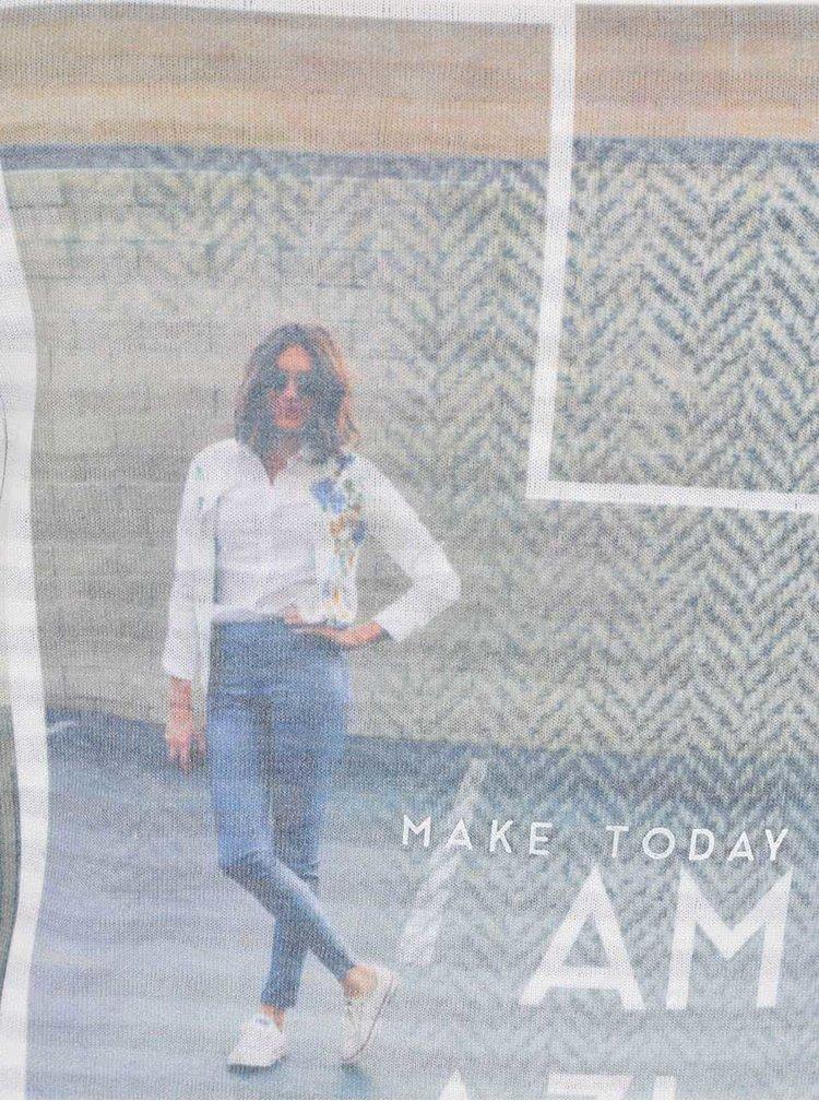Krémové dámské pruhované tričko s 3/4 rukávy s.Oliver