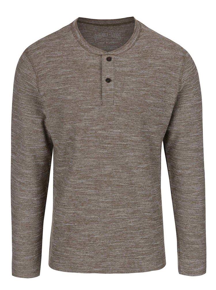 Khaki žíhané tričko s knoflíky a dlouhým rukávem Jack & Jones Sebastian