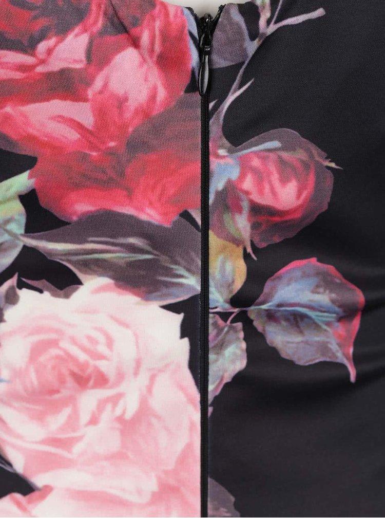Černé květované pouzdrové šaty Ax Paris