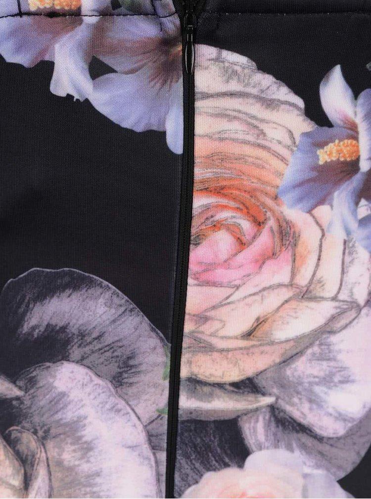 Rochie neagră Ax paris cu model floral și bretele subțiri