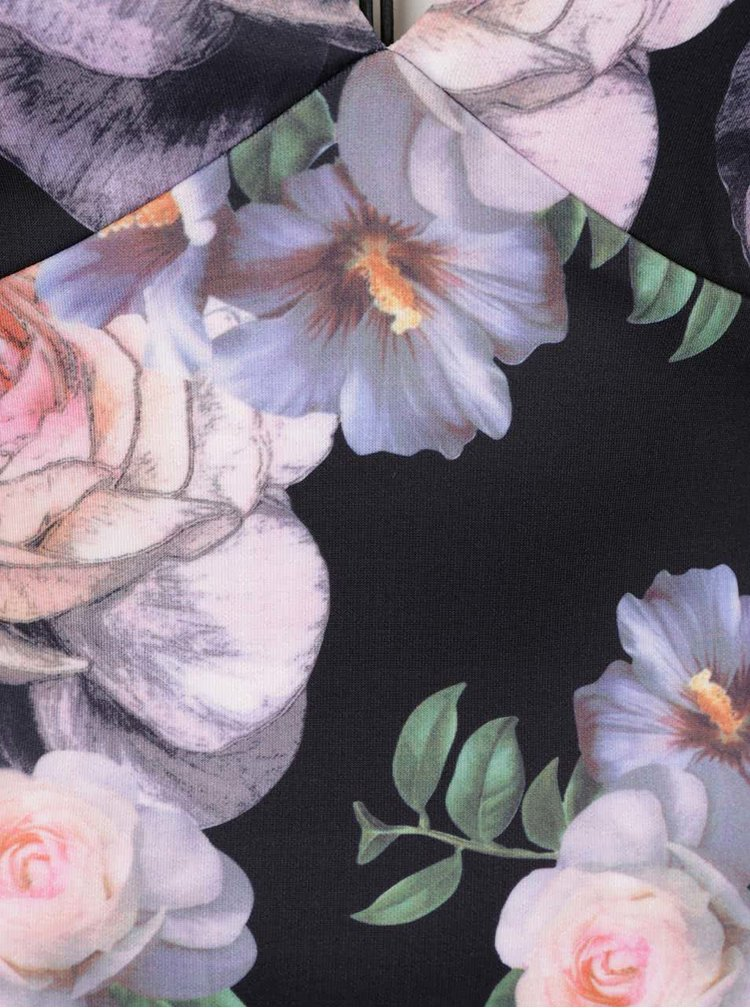 Rochie neagra Ax paris cu model floral si bretele subtiri