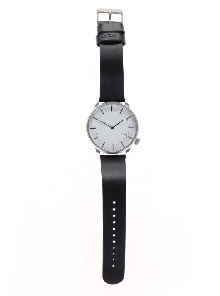Unisex hodinky s čierným koženým remienkom Komono Winston Regal