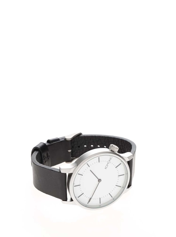 Unisex hodinky ve stříbrné barvě s koženým páskem Komono Winston Regal