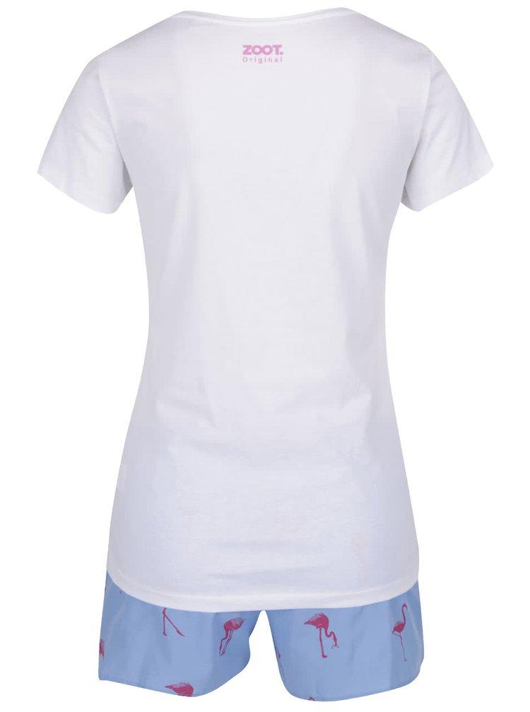 Bílo-růžovo-modré dámské pyžamo ZOOT Originál Plameňáci