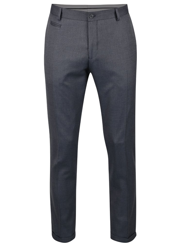 Pantaloni gri office Selected Homme Done-Louame cu model discret