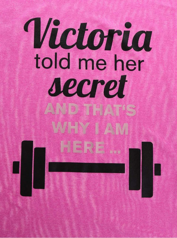 Tricou roz melanj ZOOT Original Victoria Secret cu print