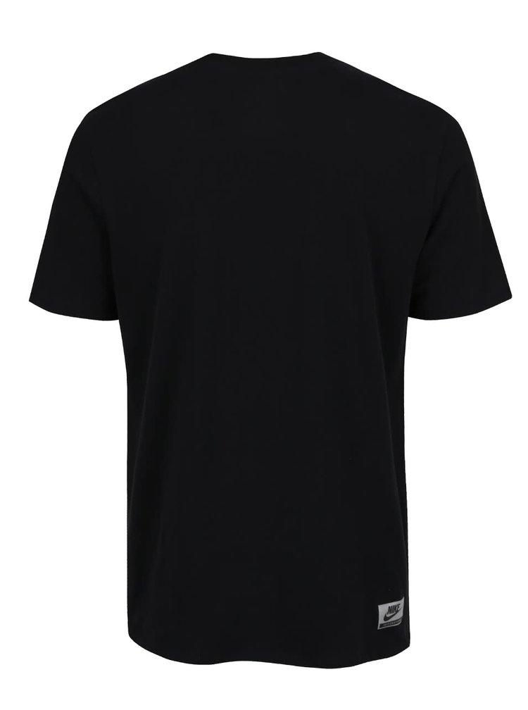 Tricou negru Nike din bumbac cu print