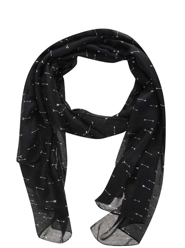Černý šátek s potiskem šipek Pieces Avonja