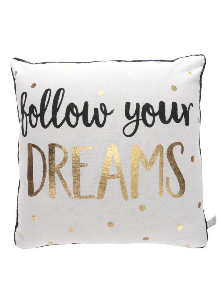 Pernă bej Sass&Belle Dreams cu imprimeu text
