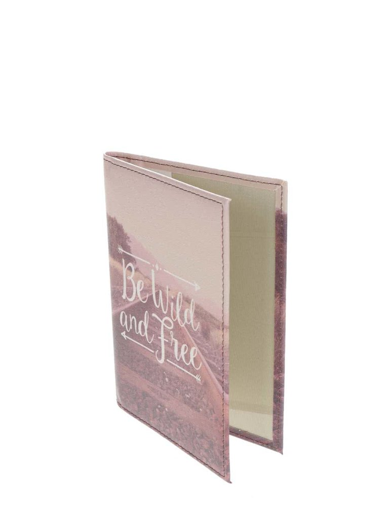 Béžovo-růžové pouzdro na doklady s potiskem Sass & Belle