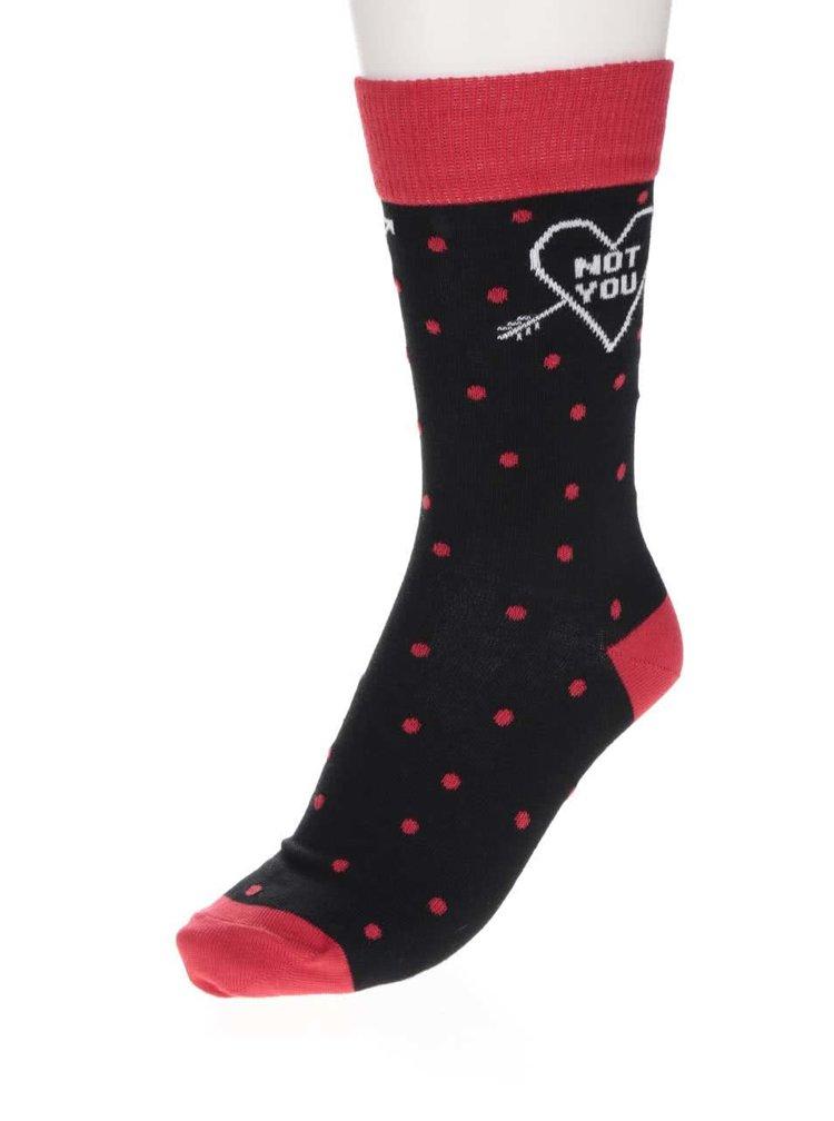 Șosete negre ZOOT Original cu model cu buline și detalii roșii
