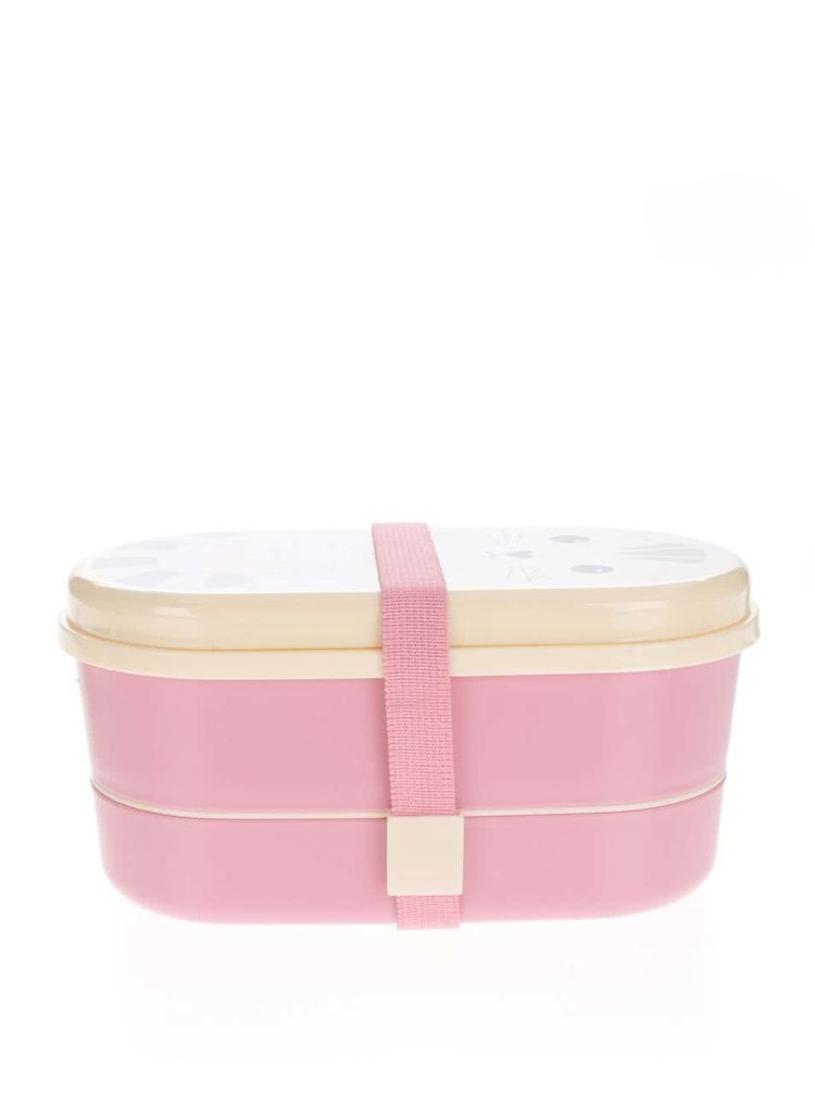 Růžový box na jídlo s potiskem Sass & Belle Nori Cat