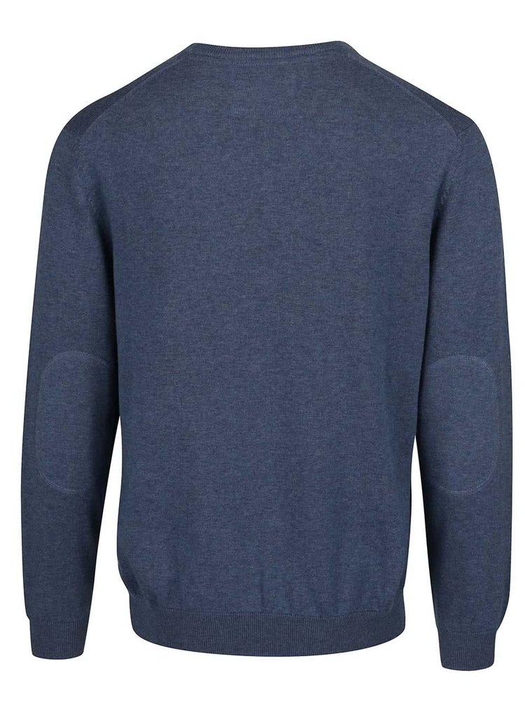 Modrý žíhaný pánský svetr bugatti