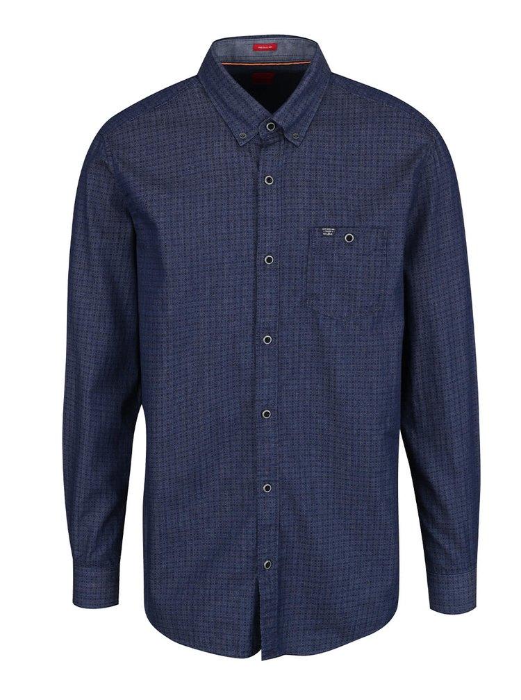 Tmavě modrá pánská vzorovaná košile s.Oliver