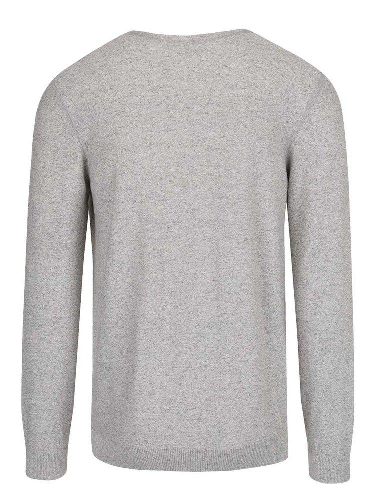 Šedý žíhaný pánský svetr s potiskem s.Oliver