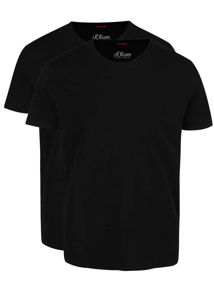 Set de 2 tricouri negre s.Oliver din bumbac cu logo pentru barbati