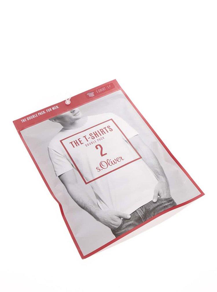 Set de 2 tricouri albe s.Oliver din bumbac pentru barbati
