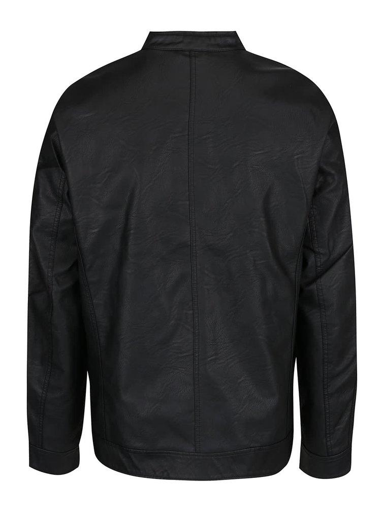 Černá pánská koženková bunda s.Oliver