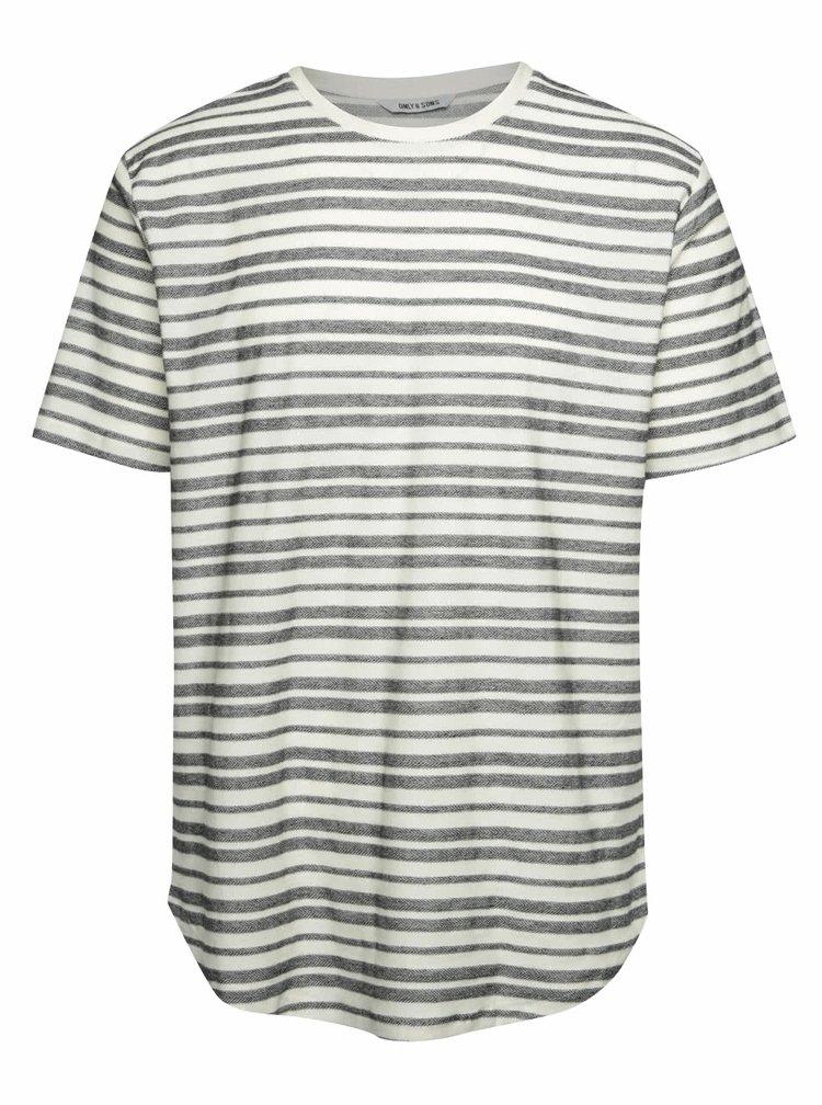 Černo-krémové pruhované triko ONLY & SONS Justin