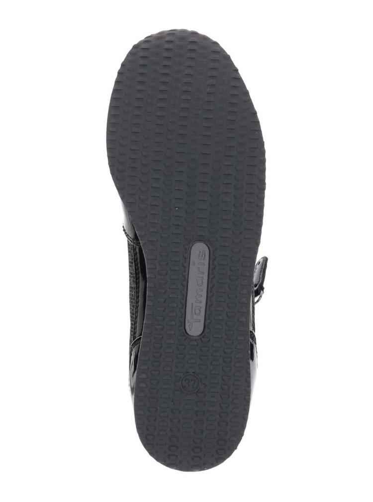 Černé lesklé tenisky s třpytivými detaily Tamaris