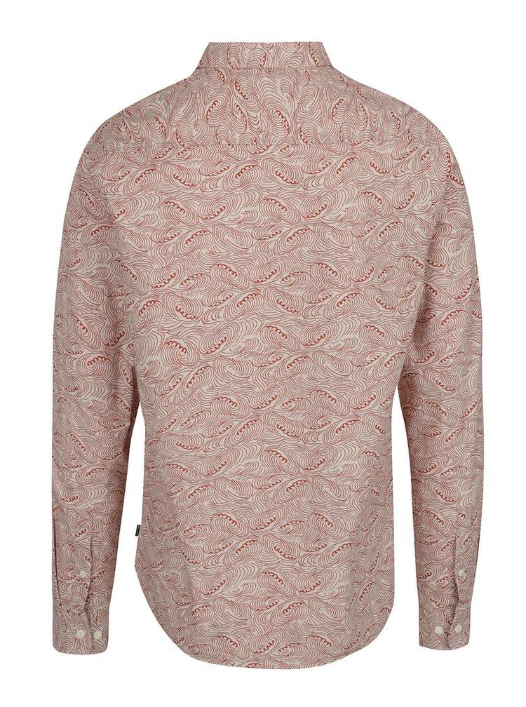 Béžová vzorovaná slim fit košeľa ONLY & SONS Christoffer