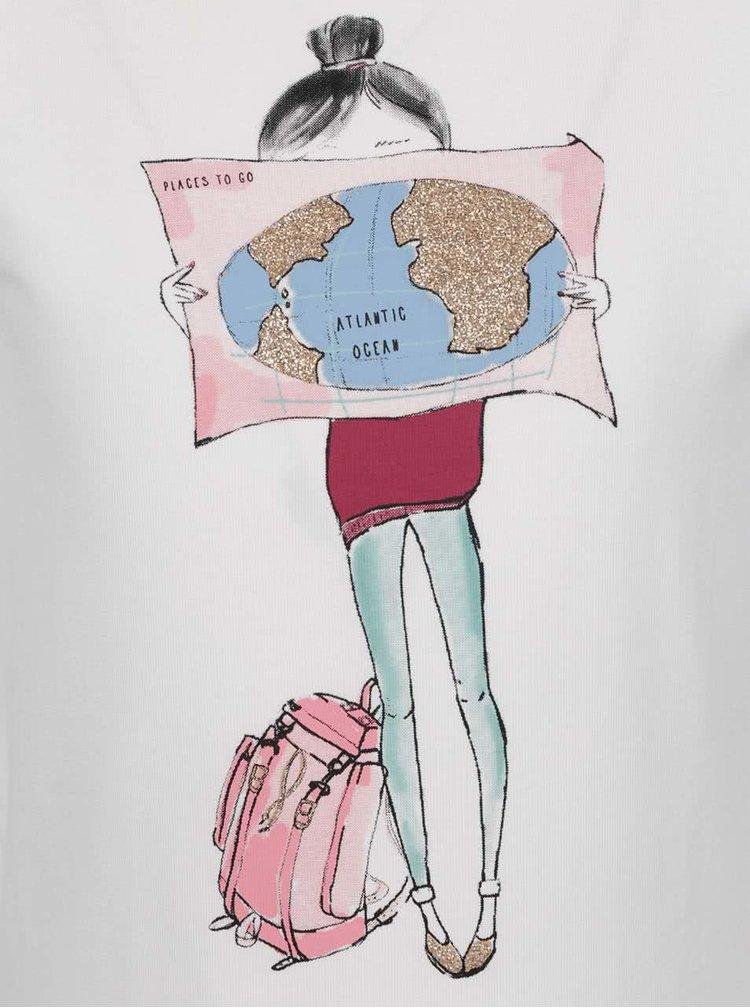 Krémové holčičí tričko s potiskem name it Happi