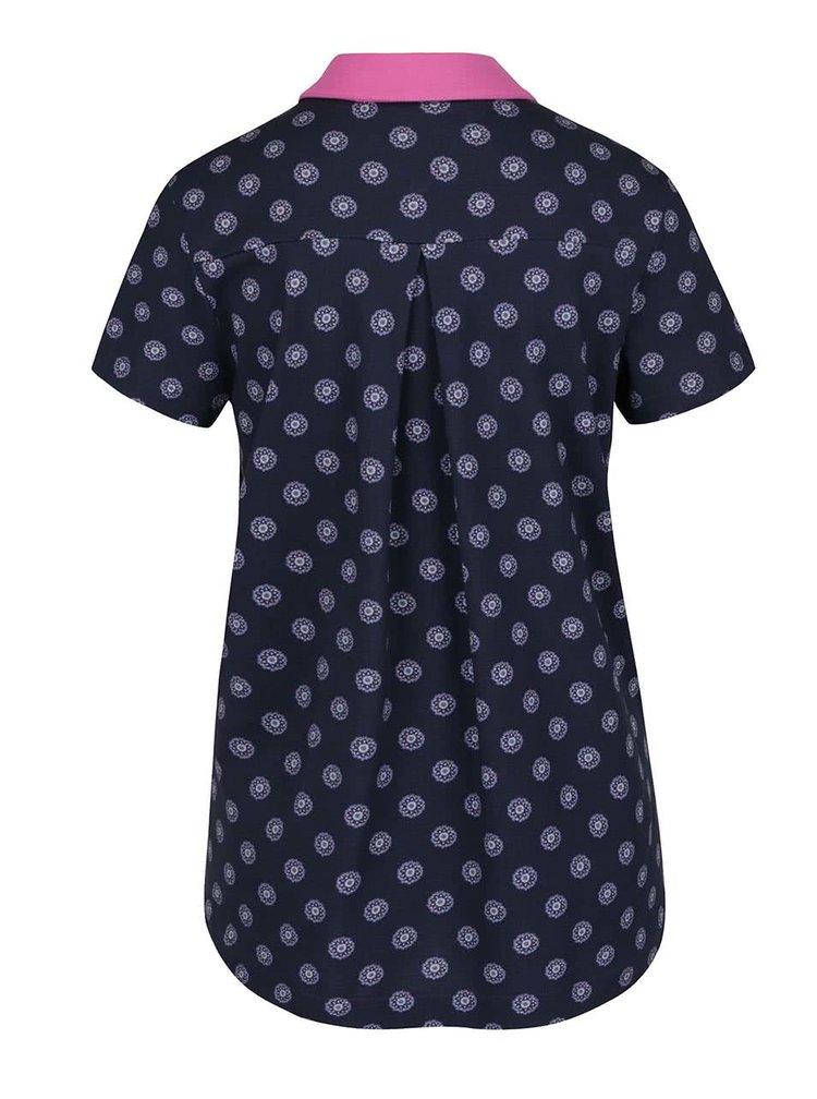 Růžovo-modré dámské vzorované polo tričko Tommy Hilfiger