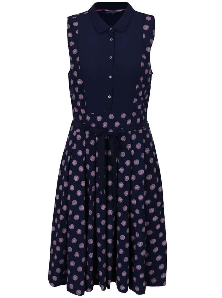 Tmavě modré vzorované šaty bez rukávů Tommy Hilfiger