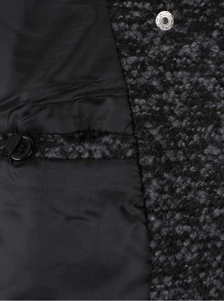 Šedo-černý žíhaný kabát s příměsí vlny Zabaione Mantel Lory