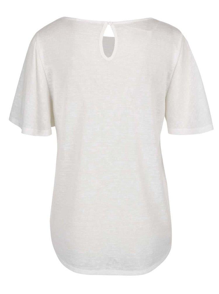 Krémové tričko se zdobením v dekoltu VILA Emmie