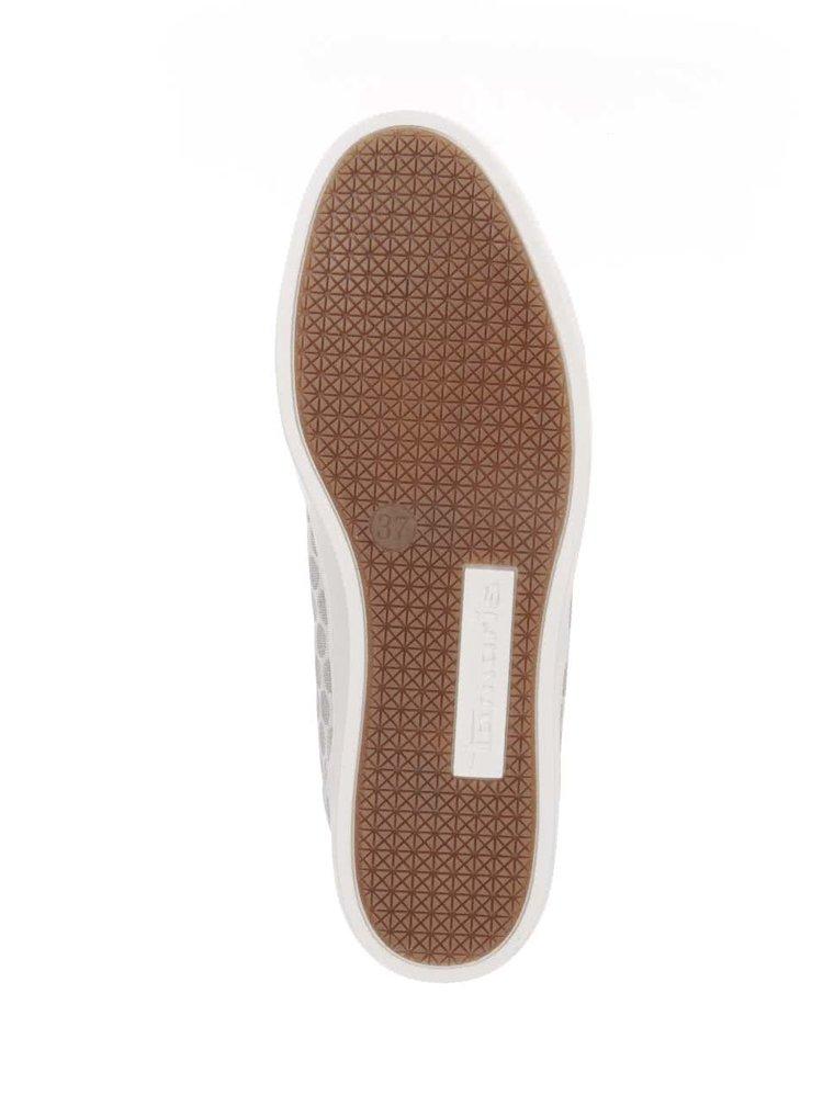 Šedobílé tenisky s detaily ve stříbrné barvě Tamaris