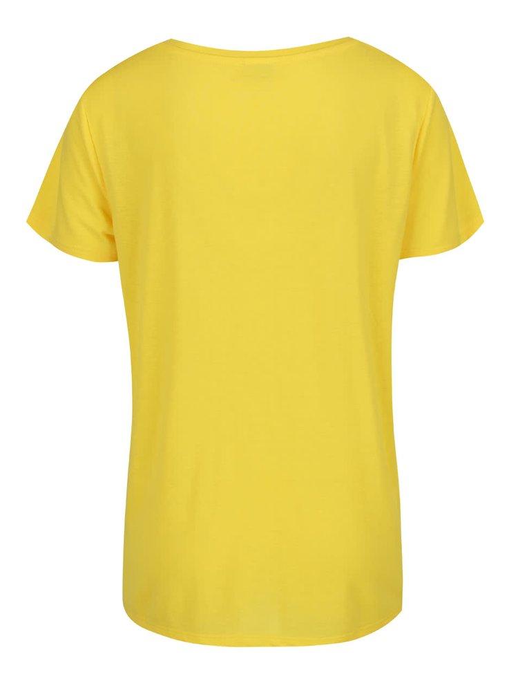 Žluté tričko s véčkovým výstřihem Jacqueline de Yong Spirit