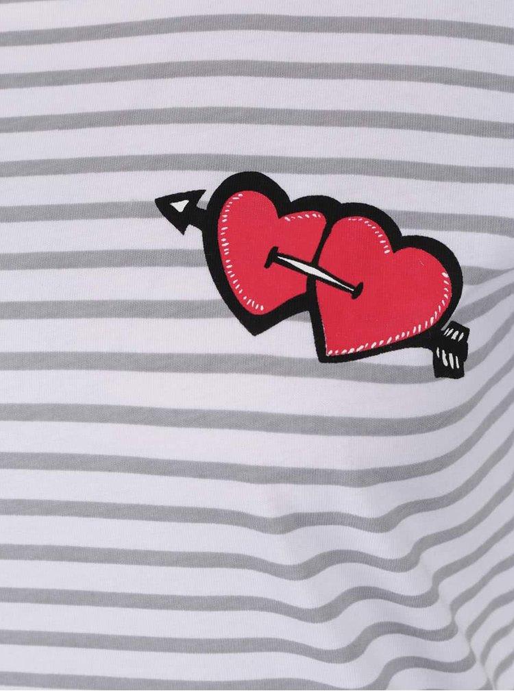 Tricou alb în dungi Noisy May Hearts