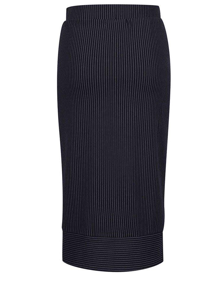 Fustă dreaptă bleumarin Selected Femme Reina cu dungi verticale