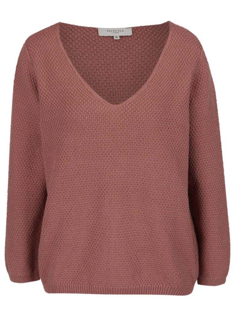 Starorůžový svetr Selected Femme Delilah