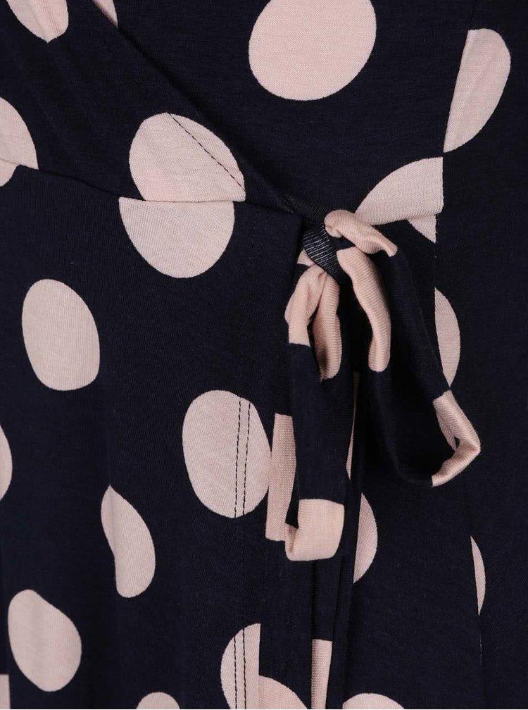 Tmavě modré puntíkované šaty s překládaným výstřihem Dorothy Perkins