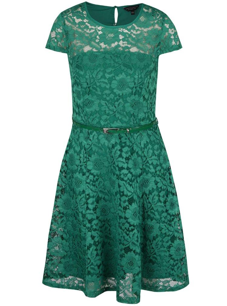 Zelené krajkové šaty s páskem Dorothy Perkins