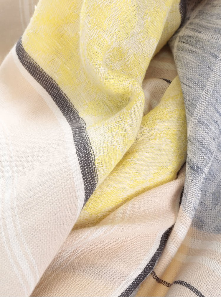 Žluto-šedý vzorovaný šátek Pieces Milla