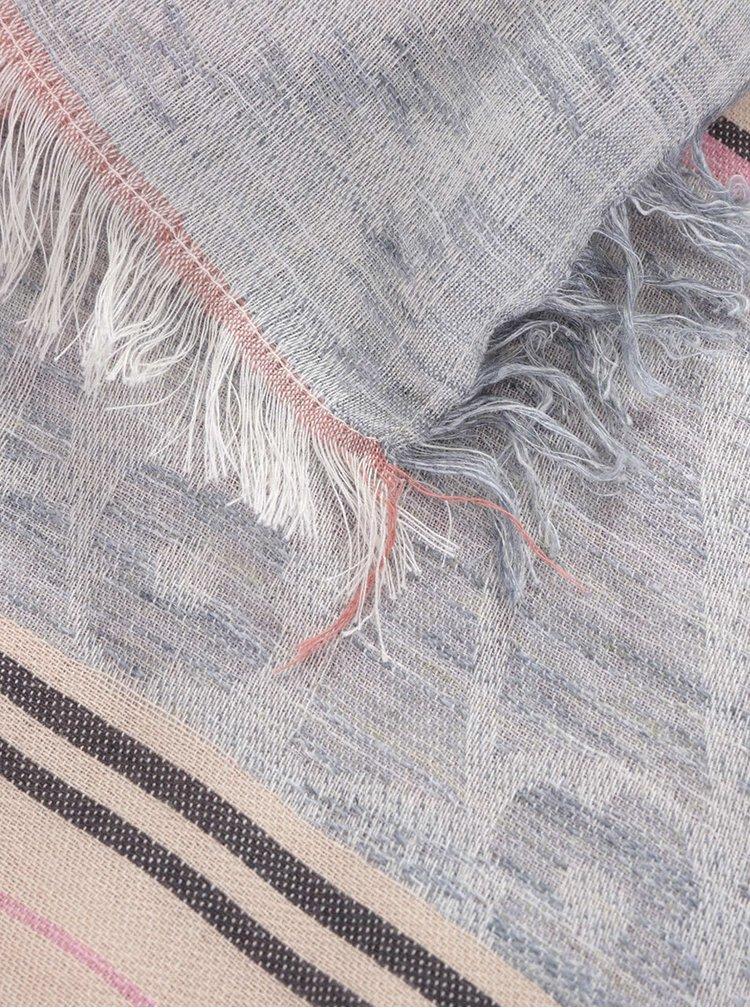 Béžovo-šedý vzorovaný šátek Pieces Milla