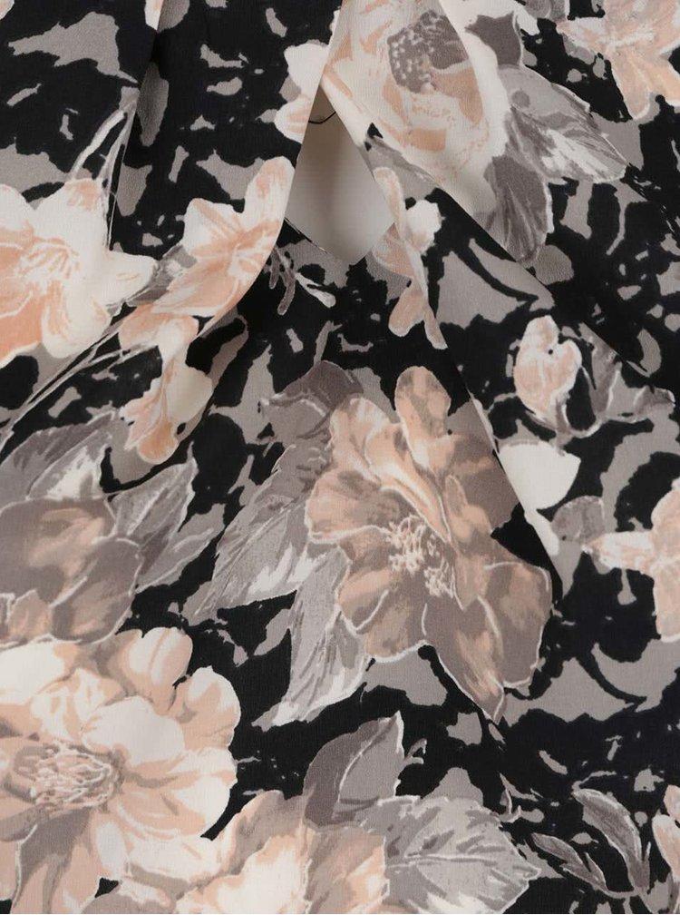 Krémovo-černý květovaný top Dorothy Perkins Curve