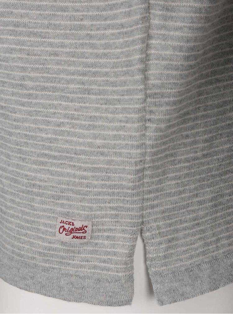 Bluza gri Jack & Jones Leo din bumbac cu model in dungi