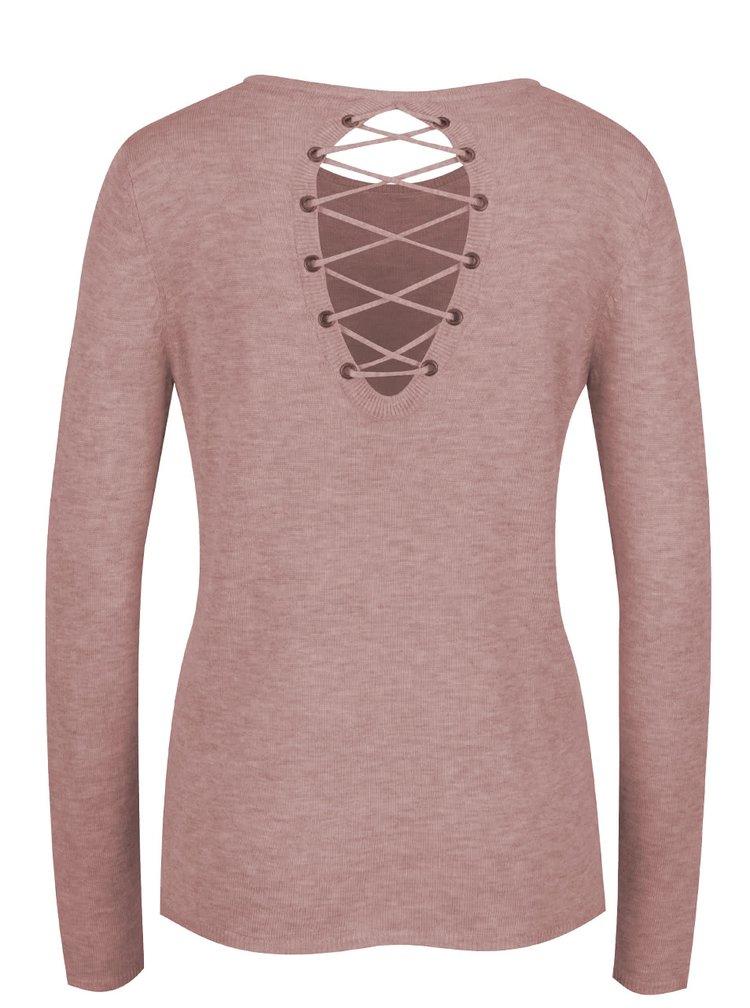 Bluza roz pal ONLY Cosy cu sireturi