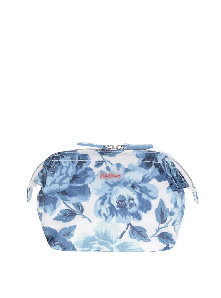 Krémovo-modrá kozmetická taštička s kvetinami Cath Kidston