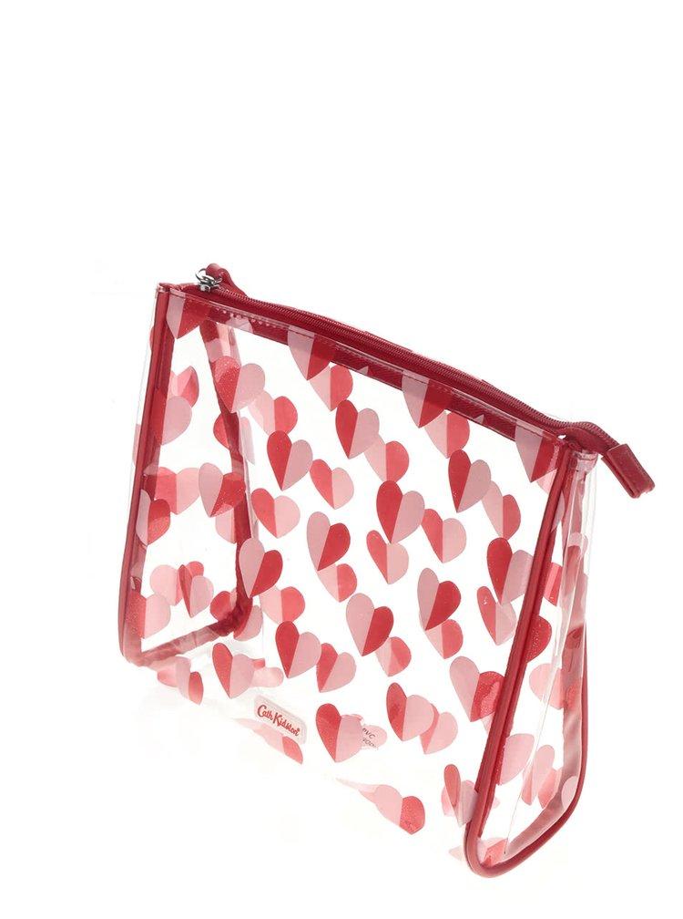 Transparentná kozmetická taštička so srdiečkami Cath Kidston