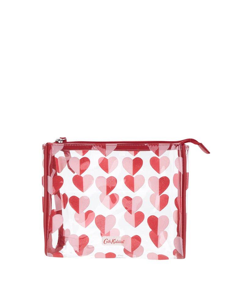 Transparentní menší kosmetická taštička se srdíčky Cath Kidston