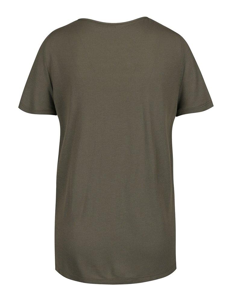 Khaki tričko s pásky v dekoltu ONLY Alva